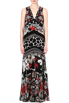 ROBERTO CAVALLI V-neck floral-print gown