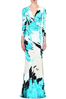 ROBERTO CAVALLI Feather-print gown