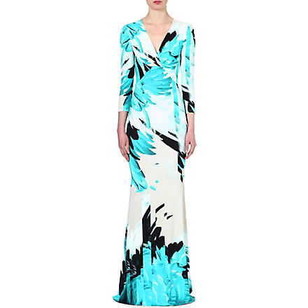 ROBERTO CAVALLI Feather-print gown (Turq