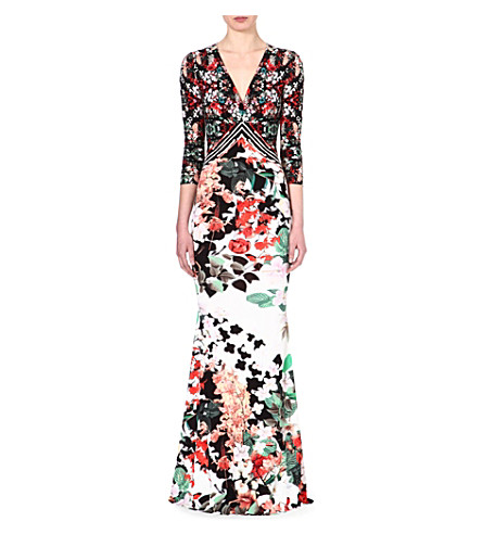 ROBERTO CAVALLI Floral crepe gown (Multi