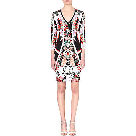 ROBERTO CAVALLI Floral stretch-crepe dress (Multi