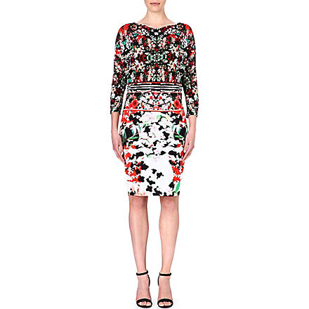 ROBERTO CAVALLI Floral-print crepe dress (Multi