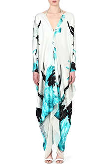 ROBERTO CAVALLI Silk feather-print kaftan