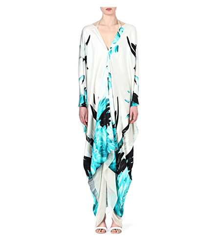 ROBERTO CAVALLI Silk feather-print kaftan (Turq
