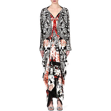 ROBERTO CAVALLI Floral-print silk dress (Multi