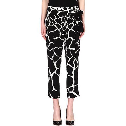 ROBERTO CAVALLI Printed silk harem trousers (Black