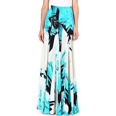 ROBERTO CAVALLI Feather print maxi skirt (Turq