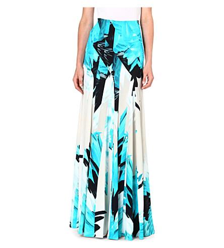 ROBERTO CAVALLI Feather print maxi skirt (Turq