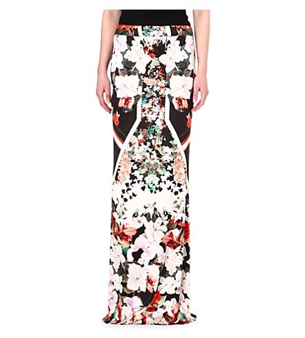ROBERTO CAVALLI Floral-print silk maxi skirt (Multi