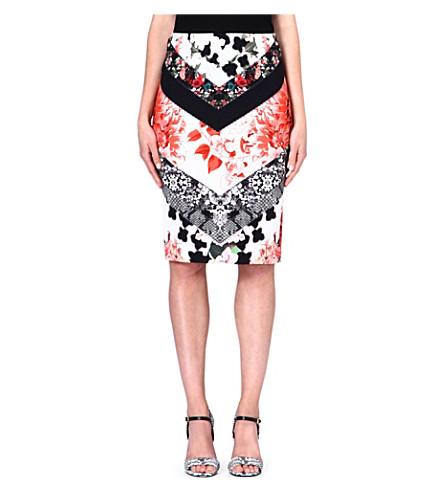 ROBERTO CAVALLI Floral-print pencil skirt (Multi