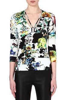 ROBERTO CAVALLI Floral-print v-neck top