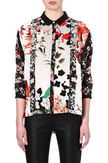 ROBERTO CAVALLI Floral-panelled silk shirt