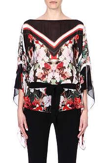 ROBERTO CAVALLI Floral-print silk top
