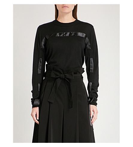 NOIR KEI NINOMIYA Silk-trim knitted jumper (Black