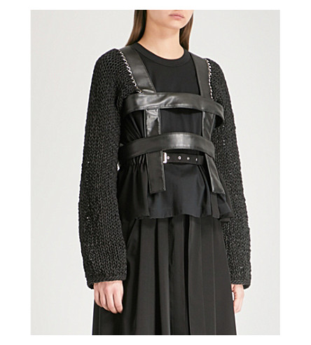 NOIR KEI NINOMIYA Knit-sleeve faux-leather harness jacket (Black