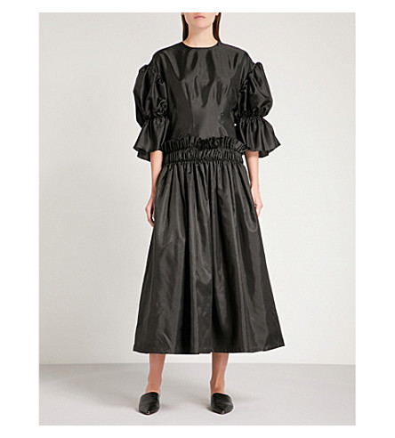 NOIR KEI NINOMIYA Gathered-waist satin dress (Black