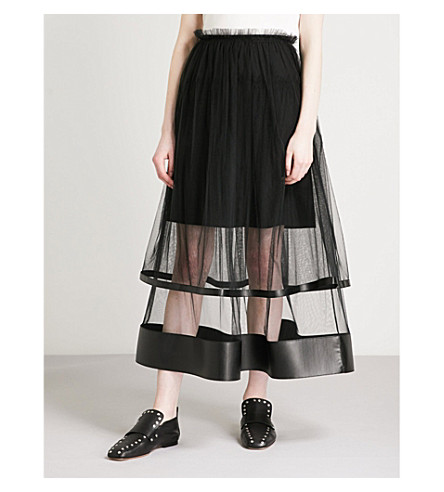 NOIR KEI NINOMIYA Gathered tulle midi skirt (Black