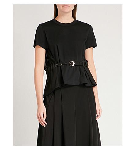 NOIR KEI NINOMIYA Belted flared-hem chiffon and cotton T-shirt (Black