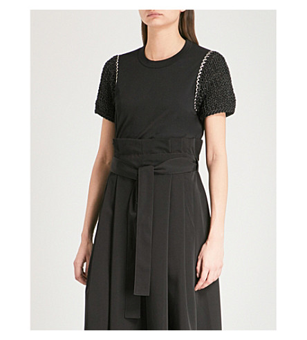 NOIR KEI NINOMIYA Knit-sleeve jersey T-shirt (Black
