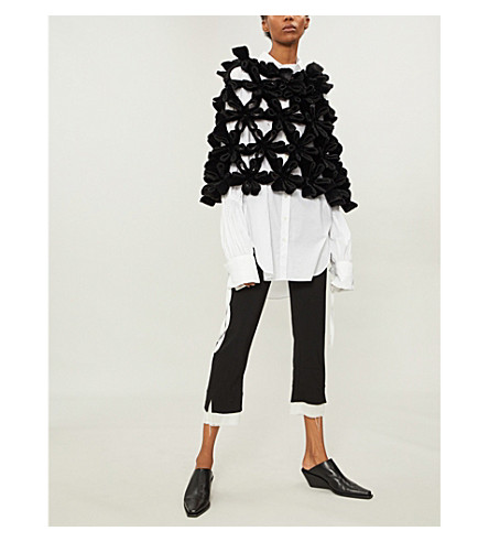 NOIR KEI NINOMIYA Bonded origami flower-panelled faux-fur top (Black