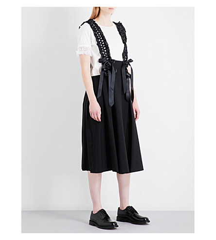 NOIR KEI NINOMIYA Suspender-strap satin and wool skirt (Black