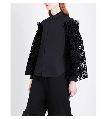 NOIR KEI NINOMIYA Leopard-flocked tulle-sleeve cotton-poplin shirt (Black