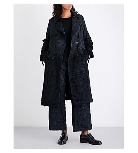 NOIR KEI NINOMIYA Floral-jacquard trench coat (Black