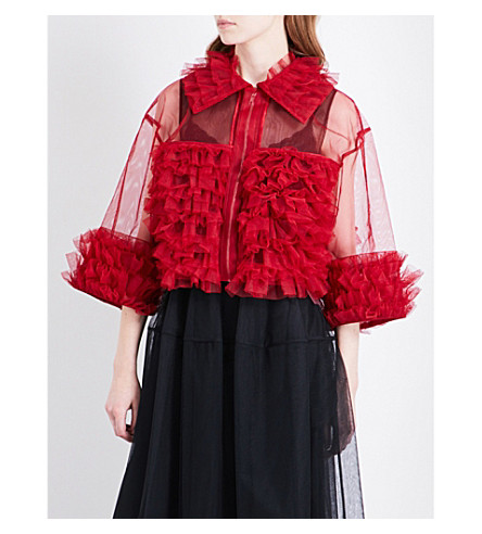 NOIR KEI NINOMIYA Ruffled tiered tulle top (Red