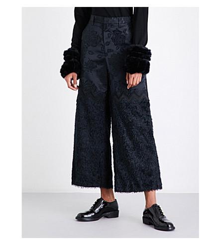 NOIR KEI NINOMIYA Wide-leg floral-jacquard trousers (Black