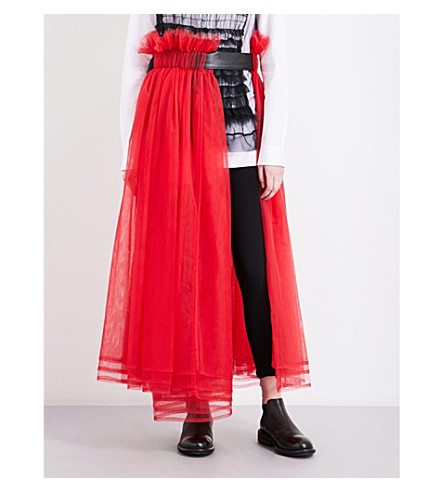 NOIR KEI NINOMIYA Gathered tulle midi skirt (Red