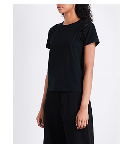 NOIR KEI NINOMIYA Braided-insert cotton T-shirt (Black