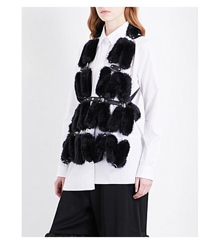 NOIR KEI NINOMIYA Faux-fur and faux-leather gilet (Black
