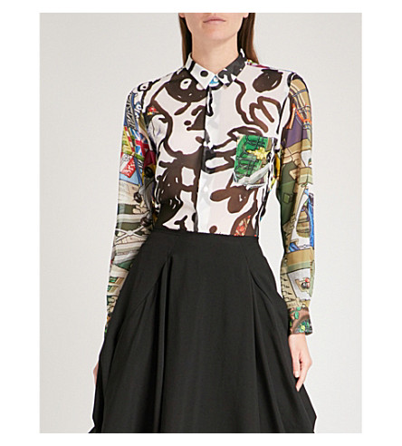 COMME DES GARCONS Abstract-print chiffon shirt (Print