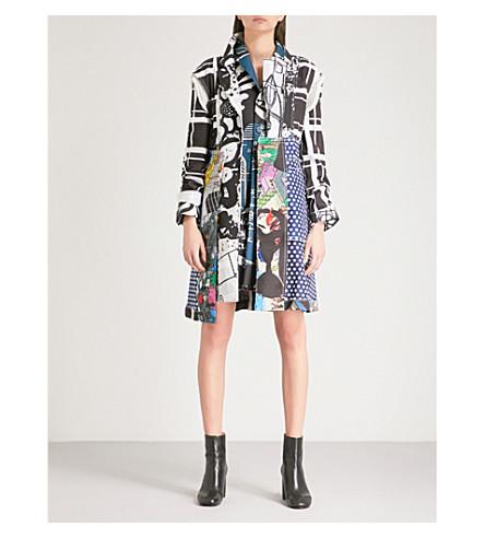 COMME DES GARCONS Patchwork asymmetric woven coat (Print