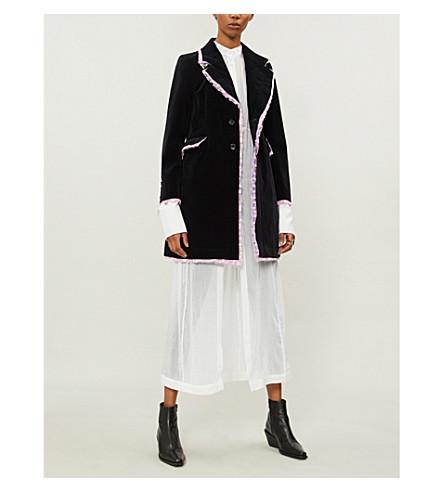 COMME DES GARCONS Floral frill-trimmed velvet coat (Black