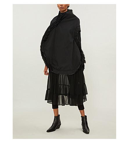 COMME DES GARCONS Chiffon-panel wool dress (Black/black