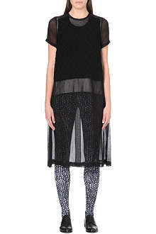 COMME DES GARCONS Knitted-panel sheer chiffon dress