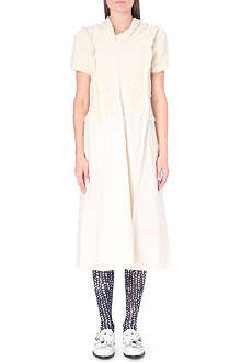 COMME DES GARCONS Wool-blend and cotton midi dress