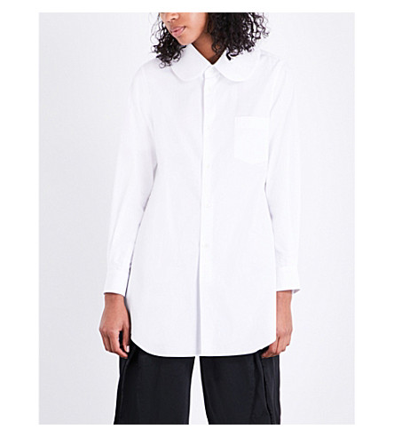 COMME DES GARCONS Oversized Peter Pan collar cotton-poplin shirt (White