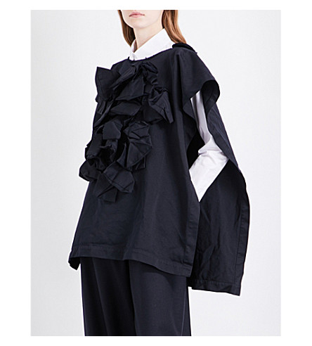 COMME DES GARCONS Ruffled woven poncho (Navy