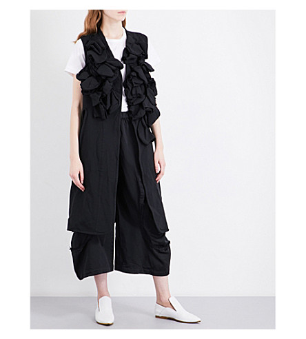 COMME DES GARCONS Sleeveless ruffled woven jacket (Black