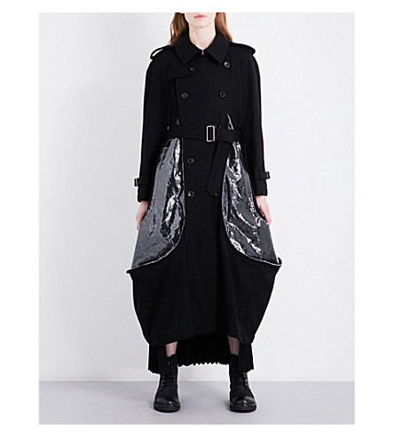 COMME DES GARCONS Barathea double-breasted wool coat (Black/clear