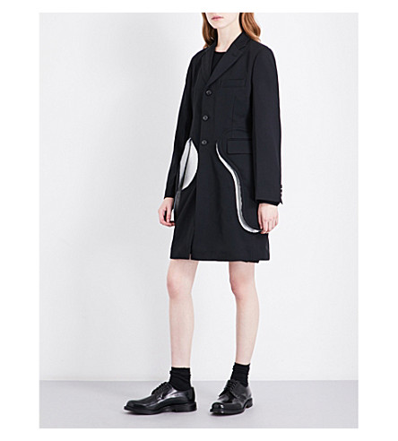 COMME DES GARCONS Single-breasted wool-gabardine coat (Black/silver