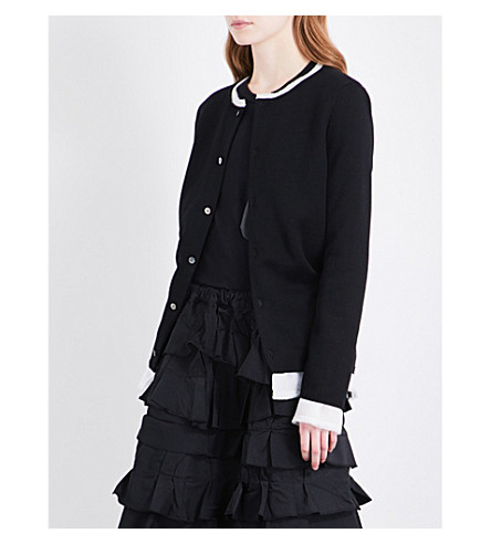 COMME DES GARCONS Buttoned wool cardigan (Black/off+white