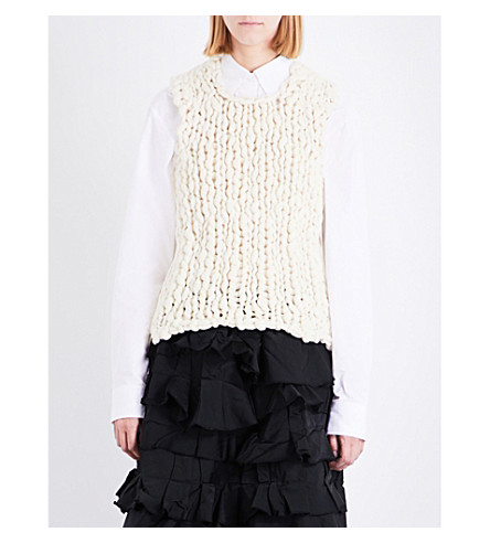 COMME DES GARCONS Panelled wool-blend top (Off+white/off+white
