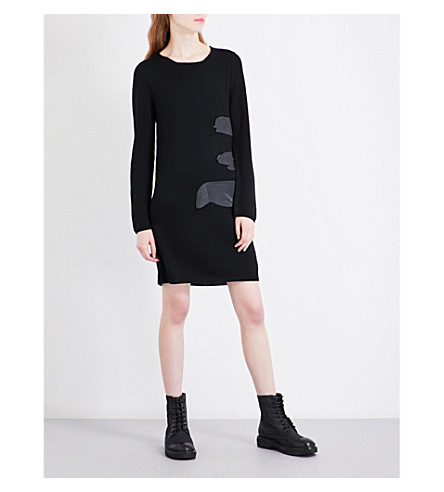 COMME DES GARCONS Splash wool mini dress (Black/black