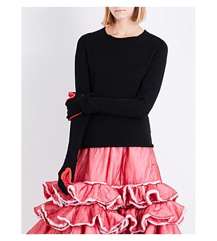 COMME DES GARCONS Rubber glove-detail wool jumper (Black/red