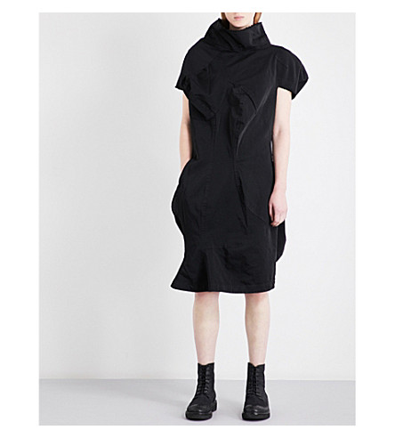 COMME DES GARCONS Funnel-neck exaggerated woven dress (Black