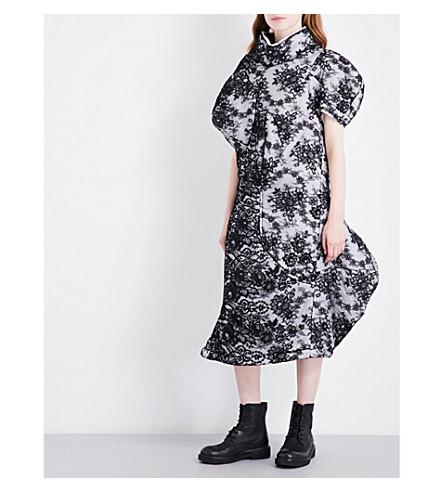 COMME DES GARCONS Funnel neck floral-lace midi dress (Black/off+white