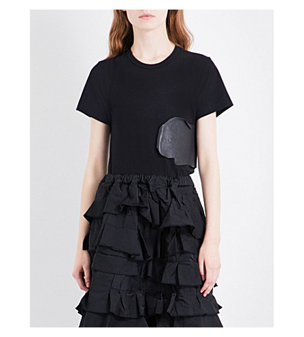 COMME DES GARCONS Splash cotton-jersey T-shirt (Black/black
